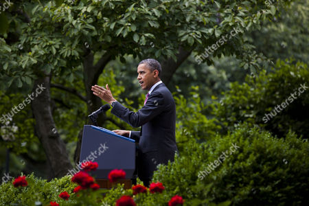 President Barack Obama Reacts Angrily to Being Interrupted a Second Time by Neil Munro of the News Website the Daily Caller As Obama was Attempting to Announce That the U S Will Stop Deporting Undocumented Immigrants who Came to the Country As Children and Have No Criminal History in the Rose Garden of the White House in Washington Dc Usa 15 June 2012 the Plan Would Also Grant the Immigrants Two-year-long Work Permits United States Washington