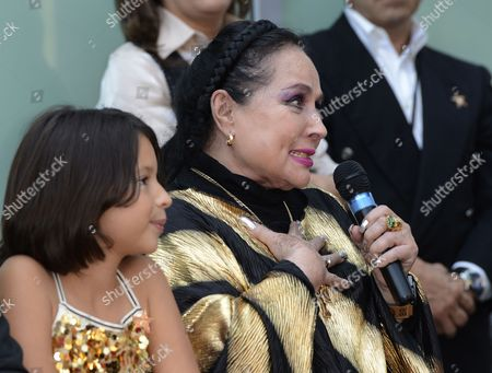 Flor Silvestre (r) the Mother of Mexican Singer Pepe Aguilar Addresses the Audience During a Ceremony Honoring Him with a Star on the Hollywood Walk of Fame in Hollywood California Usa 26 July 2012 Aguilar Considered by Critics As a 'Latin Music Superstar' is a Multiply Grammy and Latin Grammy Winner and His Recordings Have Sold Over 12 Million Copies United States Hollywood