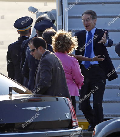 Italian Minister of Foreign Affairs Giulio Terzi Di Sant Agata (r) Arrives Ahead of the Nato Summit at O'hare International Airport in Chicago Illinois Usa 19 May 2012 Chicago is Hosting the Nato Summit on 20-21 May United States Chicago