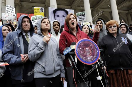 Christine Quinn (c) Speaker of the New York City Council Speaks While Standing Members of the Council While Wearing Hoodies During a Press Conference to Call Attention to the Recent Death of 17-year-old Trayvon Martin in Sanford Florida on the Steps of New York City Hall in New York New York Usa 28 March 2012 People Across the United States Are Calling For an Investigation Into Martin's Death After He was Allegedly Killed by Neighborhood Watch Captain George Zimmerman United States New York