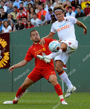 Roma Rodrigo Taddei (r) Battles with Liverpool's Joe Cole (l) During the First Half of Their Friendly Match at Fenway Park in Boston Massachusetts Usa 25 July 2012 United States Boston