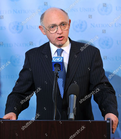 Argentina's Foreign Minister Hector Timerman Brief's Reporters Before a Statement by Mark Lyall Grant Permanent Representative of the United Kingdom to the Un (not Pictured) Mike Summers Member of the Legislative Falkland Islands Assembly (not Pictured) About the Falklands Islands at United Nations Headquarters in New York Usa 14 June 2012 Argentine President Cristina Fernandez De Kirchner was Set to Reiterate Her Country's Claims to the Falkland Islands at Un Headquarters in New York United States New York
