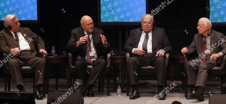 Former Soviet President Mikhail Gorbachev (2-r) Naps on Stage As Former South African President F W De Klerk (2-l) Answers a Question and Former President of Poland Lech Walesa (l) and Former Us President Jimmy Carter (r) Look on During the First Panel Discussion For the 12th World Summit of Nobel Peace Laureates at the University of Illinois at Chicago in Chicago Illinois Usa 23 April 2012 the Three Day Event is Themed 'Speak Up Speak out For Freedom and Rights' with a Focus on Engaging and Empowering Youth to Action United States Chicago