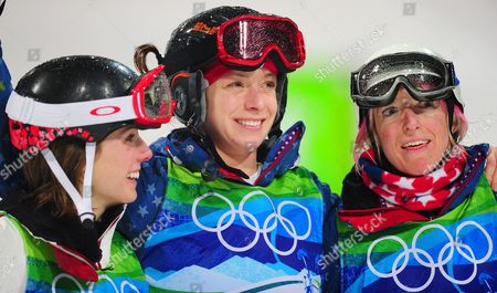 Jennifer Heil (l) Shannon Bahrke (r) and Hannah Kearney (c) Celebrate on Th Podium After the Freestyle Moguls Event in Cypress Mountain Outside Vancouver on 13 February 2010 Canada Vancouver