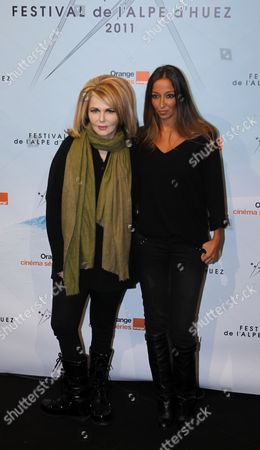 Stock Image of French Producer Nathalie Rheims (l) and French Writer and Director Saphia Azzedine (r) Attend the Opening Ceremony of the 14th Annual International Comedy Film Festival in L'alpe D'huez France 18 January 2011 the Movie 'Mon Pere Est Femme De Menage' Directed by Saphia Azzedine is Presented During the Opening Night of the Festival Running From 18 to 23 January France Alpe D'huez