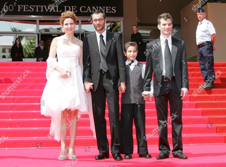 French Director Raphael Nadjari (2-l) Arrives with Israeli Cast Members Michael Moshonov (r) Yonathan Alster (2nd R) and Limor Goldstein (l) For the Screening of His Film 'Tehilim' Running in Competition at the 60th Cannes Film Festival 20 May 2007 in Cannes France