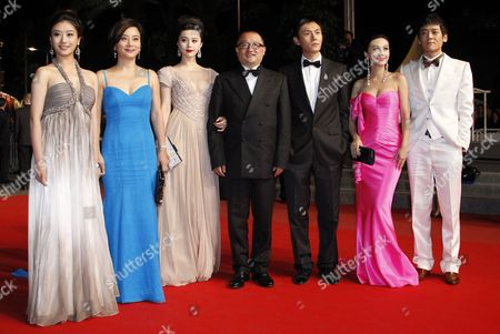 Chinese Director Wang Xiaoshuai (c) Arrives with Chinese Actress Fan Bingbing (3-l) Chinese Actress Li Feier (2-r) Chinese Actor Qin Hao (3-r) and Chinese Actor Zi Yi (r) For the Screening of the Movie 'Rizhao Chongqing' (chongqing Blues) During the 63rd Cannes Film Festival in Cannes France 13 May 2010 the Movie by Wang Xiaoshuai is Presented in Competition at the Cannes Film Festival 2010 Running From 12 to 23 May France Cannes