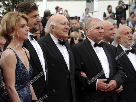 (l-r) Italian Actress Margherita Buy Italian Director Nanni Moretti French Actor Michel Piccoli Polish Actor Jerzy Stuhr Italian Actor Dario Cantarelli and Italian Actor Renato Scarpa Arrive For the Screening of 'Habemus Papam' During the 64th Cannes Film Festival in Cannes France 12 May 2011 the Movie by Italian Director Nanni Moretti is Presented in the Official Competition of the Film Festival Running From 11 to 22 May France Cannes