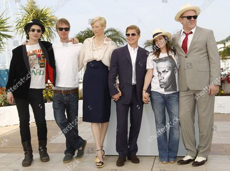 (l-r) Actor Ezra Miller Co-writer Rory Stewart Kinnear British Actress Tilda Swinton Producer Luc Roeg British Director Lynne Ramsay and Us Actor John C Reilly Poses During the Photocall For 'We Need to Talk About Kevin' at the 64th Cannes Film Festival in Cannes France 12 May 2011 the Movie by Lynne Ramsay is Presented in the Official Competition of the Film Festival Running From 11 to 22 May France Cannes
