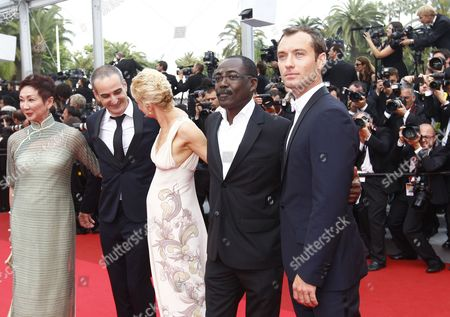 (l-r) Jury Members Hong Kong Producer Nansun Shi French Director Olivier Assayas Norwegian Writer Linn Ullmann Chadian Director Mahamat Saleh Haroun and British Actor Jude Law Arrive For the Screening of 'Pirates of the Caribbean: on Stranger Tides' During the 64th Cannes Film Festival in Cannes France 14 May 2011 the Movie by Us Director Rob Marshall is Presented out of Competition at the Film Festival Running From 11 to 22 May France Cannes