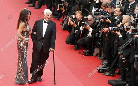 French Actor Jean-paul Belmondo (r) and His Girlfriend Barbara Gandolfi (l) Arrive to a Tribute Ceremony During the 64th Cannes Film Festival in Cannes France 17 May 2011 the Film Festival Running From 11 to 22 May is Paying Tribute to Jean-paul Belmondo For His Career France Cannes