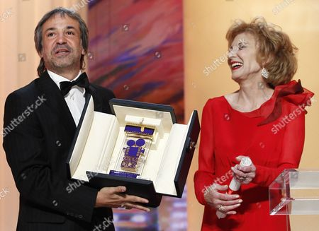 Argentine Director Pablo Giorgelli (l) Receives the Camera D'or Trophy For 'Las Acacias' From Spanish Actress Marisa Paredes (r) During the Closing Award Ceremony of the 64th Cannes Film Festival in Cannes France 22 May 2011 the Award Ceremony is Followed by the Screening of 'Les Bien-aimes' (beloved) by French Director Christophe Honore Presented out of Competition France Cannes