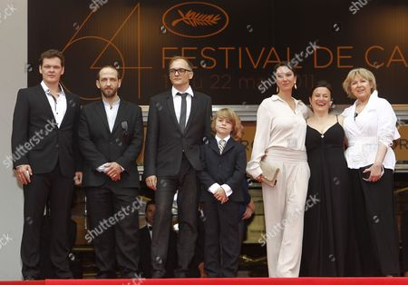(l-r) Actors Victor Tremmel Michael Fuith Director Markus Schleinzer Actors David Rauchenberger Ursula Strauss Gisella Salcher and Christine Kain Arrives with Cast Members For the Screening of 'Michael' During the 64th Cannes Film Festival in Cannes France 14 May 2011 His Movie is Presented in the Official Competition of the Film Festival Running From 11 to 22 May France Cannes