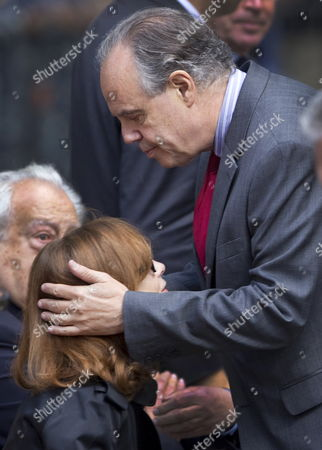 French Culture Minister Frederic Mitterrand (r) Gives His Condolences to French Actress Isabelle Huppert During a Ceremony to Pay Tribute to French Film Maker Claude Chabrol in Paris France 17 September 2010 Chabrol who Died at the Age of 80 on 17 September 2010 is One of France's Most Eminent Film Directors and Known For Founding the New Wave Movement in French Cinema of the 1950s France Paris