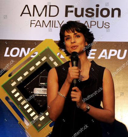 Bollywood Actress Gul Panag Launching the Advanced Micro Devices Inc 'S Accelerated Processing Unit (apu) Chip in Bangalore India 01 February 2011 the Worlds Leading Chip Producer Amd Announced the Launch of a New Chipset That Offers Higher Computing Speed and Better Graphics India Bangalore