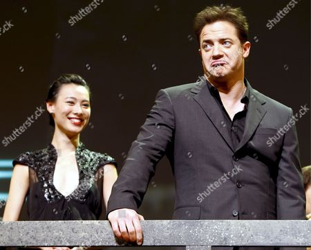 Chinese Actress and Cast Member of the Us Film 'The Mummy: Tomb of the Dragon Emperor' Isabella Leong (l) Smiles As Us Actor and Cast Member Brendan Fraser (r) Reacts During the Japan Premiere in Tokyo 04 August 2008 Directed by Us Director Rob Cohen the Third in a Series of Box Office Hits the Latest Movie Tells the Story of Adventurer Rick O'connell (fraser) who Combats the Resurrected Han Emperor (jet Li) in an Epic That Races From the Catacombs of Ancient China High Into the Frigid Himalayas the Movie Will Hit the Cinemas All Over Japan on 16 August 2008 Japan Tokyo