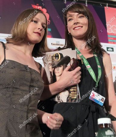 Stock Picture of Russian Actress Nina Loshinina (l) and South African-born Actress Justine Waddell (r) Pose For the Media After a Press Conference For 'Mishen (target)' at the 33rd Moscow International Film Festival (miff) in Moscow Russia 26 June 2011 the Movie by Russian Director/writer Alexandre Zeldovich is Presented in the Section 'Gala Screenings' at the Film Festival That Runs From 23 June to 02 July Russian Federation Moscow