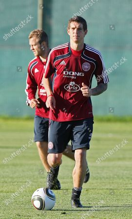 Martin Jorgensen (l) and Daniel Agger (r) Warm Up with the Ball Denmark Train at Their Training Base at Loerie Park in Knysna South Africa 17 June 2010 Denmark Will Play Their Second Game Against Cameroon on 19 June South Africa Knysna