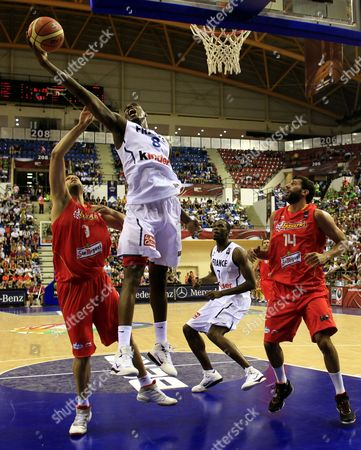 France' Ian Mahinmi (2nd L) and Alain Koffi (2nd R) Vie For the Ball with Spain's Raul Lopez Reyes (l) and Alex Mumbru (r) During Their Fiba World Basketball Championship Preliminary Round Match at Halkapinar Arena in Izmir Turkey 28 August 2010 Turkey Izmir
