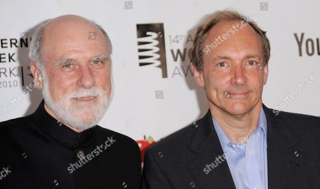 Computer Scientists Vinton Cerf (l) of the Us and Tim Berners-lee (r) of the United Kingdom who Are Credited with Helping to Invent the Internet Arrive For the 14th Annual Webby Awards Which Honor Excellence on the Internet in New York New York Usa on 14 June 2010 United States New York
