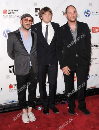 Members of Us Band Ok Go! (l-r) Tim Nordwind Andy Ross and Dan Konopka Arrive For the 14th Annual Webby Awards Which Honor Excellence on the Internet in New York New York Usa on 14 June 2010 United States New York