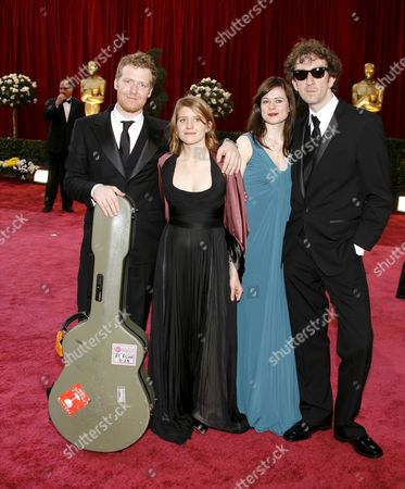 Irish Actor Glen Hansard (l) Czech Actress Marketa Irglova Irish Director John Carney (right) and Guest Arrives For the 80th Annual Academy Awards at the Kodak Theatre in Hollywood California Usa 24 February 2008 United States Hollywood