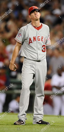 Los Angeles Angels Pitcher Jered Weaver Reacts After Giving Up a Grand Slam Homerun to Boston Red Sox Ryan Kalish in the Fourth Inning at Fenway Park in Boston Massachusetts Usa 17 August 2010 United States Boston
