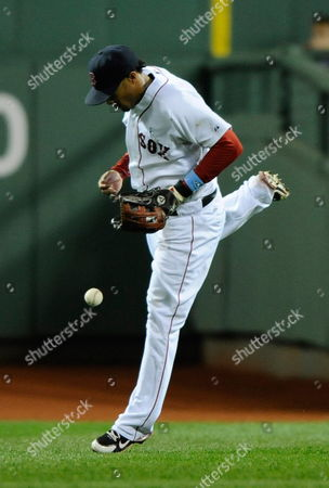 Boston Red Sox Center Fielder Darnell Mcdonald Can not Field a Hit by Los Angeles Dodgers Garret Anderson in the Eighth Inning During a Baseball Game at Fenway Park in Boston Massachusetts Usa on 20 June 2010 United States Boston