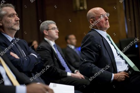 Former U S Treasury Secretary Henry Paulson (r) Testifies Before the Financial Crisis Inquiry Commission (fcic) on Capitol Hill in Washington Dc Usa 06 May 2010 the Fcic's Aim is to Examine the Causes of the Latest Financial Crisis Through a Series of Hearings with the Main Figures who Dealt with It in Way Or Another United States Washington