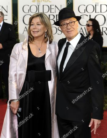 Australian Actor Geoffrey Rush (r) and His Wife Jane Menelaus (l) Arrive For the 68th Golden Globe Awards Held at the Beverly Hilton Hotel in Los Angeles California Usa 16 January 2011 United States Beverly Hills