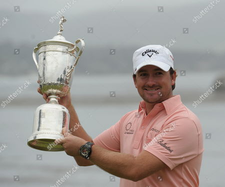 Graeme Mcdowell of Northern Ireland Holds the Trophy After Winning the 110th Us Open Championship on the Pebble Beach Golf Links at Pebble Beach California Usa 20 June 2010 Mcdowell is the First European to Win the Us Open Since Englishman Tony Jacklin in 1970 United States Pebble Beach