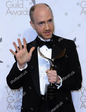 Stock Photo of Us Writer and Producer Ken Keeler Holds His Wga Award For Outstanding Script Television Animation For 'The Prisoner of Benda' (futurama) at the Writers Guild of America Awards (wga) in Hollywood California Usa 05 February 2011 United States Hollywood