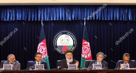 Mohammad Mahsoom Stanekzai (l) Head of the Joint Secretariat of Hpc and Hazrat Omar Zakhilwal (2-l) Minister of Finance and Burhanuddin Rabbani (c) Former Afghan President and Now the Head of the High Peace Council and Tadami Chi Yamamato (2-r) Japan Special Representative For Afghanistan and Pakistan and Michael Keating (r) Deputy Special Representative of Secretary General Talk with Journalists During a Press Conference in Kabul Afghanistan on 11 May 2011 the High Peace Council was Formed by Afghan President Karzai in October 2010 to Strengthen Efforts to Reconcile with Top Taliban Leaders and Lure Insurgent Foot Soldiers Off the Battlefield Afghanistan Kabul