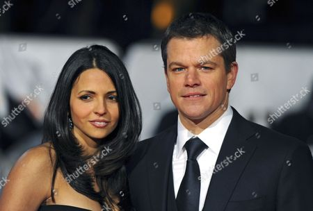 Us Actor Matt Damon (r) His Argentine-born Wife Luciana Bozan Barroso (l) Arrive For the Premiere of the New Movie 'Invictus' Held at the Odeon West End in Central London 31 January 2010 the Film is Based on Past Events of Newly Elected South-african President Nelson Mandela's Quest to Unite His Divided Country by Winning the 1995 Rugby Union World Cup United Kingdom London
