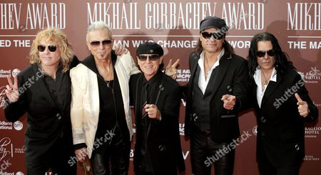 Musicians James Kottak (l-r) Rudolf Schenker Klaus Meine Matthias Jabs and Pawel Maciwoda of the Scorpions Arrive For Former Soviet Leader Mikhail Gorbachev's 80th Birthday Charity Gala at the Royal Albert Hall in London Britain 30 March 2011 the Event is Aimed at Raising Money For Cancer Charities Including the Raisa Gorbachev Foundation Established in Honor of the Nobel Peace Prize Winner's Late Wife Gorbachev Turned 80 on 02 March 2011 United Kingdom London