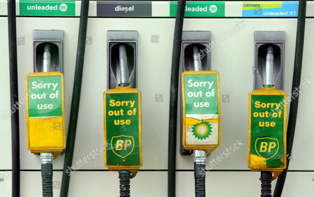 A Row of out of Order Petrol Pump at a Bp Petrol Station Closed Due to the Greenpeace Protest in Camden London 27 July 2010 Greenpeace Activists Say They Have Shut Down Every Bp Petrol Station in London Putting Up Signs Saying: 'Closed Moving Beyond Petroleum' Bp Has Confirmed Tony Hayward Will Step Down After the Company Posted Losses of ú11bn For the Second Quarter of the Year United Kingdom London