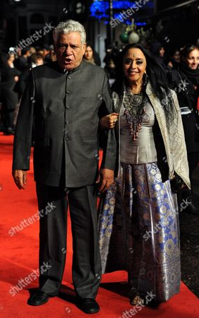 Stock Picture of Indian Actor and Cast Member Om Puri (l) Arrives with Indian Actress and Cast Member Ila Arun (r) at the Premiere of British Director Andy De Emmony's Movie 'West is West' During the 54th Bfi London Film Festival Held at the Vue West End in London Britain 19 October 2010 United Kingdom London