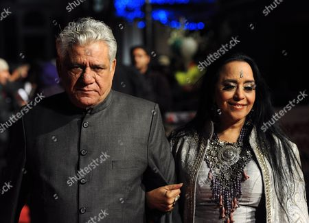 Indian Actor and Cast Member Om Puri (l) Arrives with Indian Actress and Cast Member Ila Arun (r) at the Premiere of British Director Andy De Emmony's Movie 'West is West' During the 54th Bfi London Film Festival Held at the Vue West End in London Britain 19 October 2010 United Kingdom London
