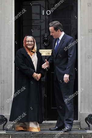 The Prime Minister of Bangladesh Sheikh Hasina Wazed (l) Meets with British Prime Minister David Cameron at 10 Downing Street in London Britain 27 January 2011 According to Media Reports the Meeting Will Focus on a Range of Bilateral Issues Such As Defence Terrorism and Climate Change United Kingdom London