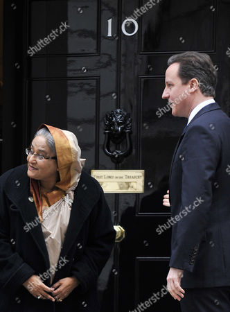 The Prime Minister of Bangladesh Sheikh Hasina Wazed (l) Looks For Her Entourage with British Prime Minister David Cameron at 10 Downing Street in London Britain 27 January 2011 According to Media Reports the Meeting Will Focus on a Range of Bilateral Issues Such As Defence Terrorism and Climate Change United Kingdom London