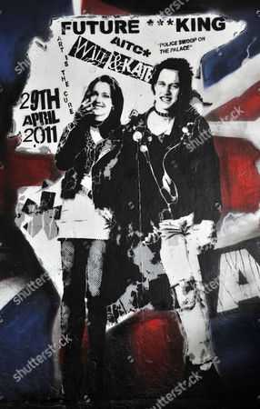 A Mural of Prince William and Kate Middleton Depicted As Sid Vicious Bassist of the Seminal Punk Rock Band the Sex Pistols and His Girlfriend Nancy Spungen is Pictured at the Southbank in London Britain 10 February 2011 Prince William and Kate Middleton Are to Marry at Westminster Abbey on 29 April 2011 United Kingdom London