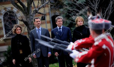 (l-r) the Wife of Syrian President Asma Al-assad Syrian President Bashar Al-assad Bulgarian President Georgi Parvanov and His Wife Zorka Parvanova Review the Honour Guard During the Official Welcome Ceremony in Sofia Bulgaria 09 November 2010 Syrian President Bashar Al- Assad Arrived on a Two-day Official Visit in Bulgaria Bulgaria Sofia