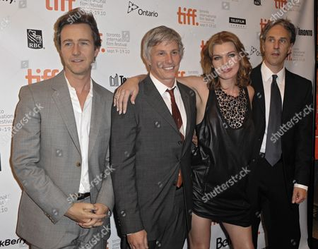 (l-r) Us Actor Ed Norton Us Director John Curran Ukrainian Actress Milla Jovovich and Us Writer Angus Maclachlan Attend the Premiere of the Movie Stone Held at the Winter Garden Theater During the 35th Annual Toronto International Film Festival in Toronto Canada on 10 September 2010 the International Film Festival Runs 09 to 19 September 2010 Canada Toronto