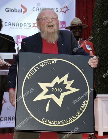 Stock Photo of Canadian Author Farley Mowat Poses with His Sidewalk Star at the 13th Annual Canada's Walk of Fame Ceremony in Toronto Canada on 16 October 2010 the Walk of Fame Honors Those who Have Excelled in the Arts Entertainment Sport and Science Canada Toronto