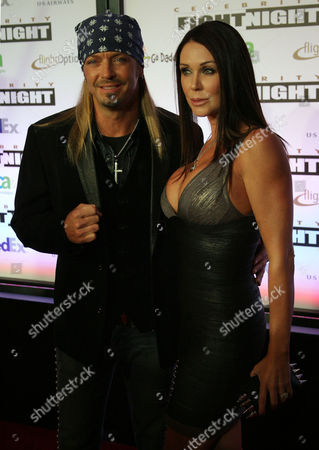 Singer and Reality Star Bret Michaels and His Partner Kristi Gibson Pose on the Red Carpet at the Muhammad Ali Celebrity Fight Night Xvii in Phoenix Arizona Usa on 19 March 2011 United States Phoenix