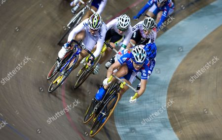 Russia's Eugeniya Romanyuta Leads the Pack During the Women's Points Race at the 2009-2010 Track Cycling World Cup at the Laoshan Velodrome in Beijing China 23 January 2010 Romanyuta Won the Race Followed by Megan Dunn of Australia in Second and Giorgia Bronzini of Italy in Third China Beijing