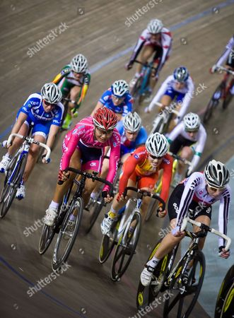 Cyclists Compete in the Women's Points Race at the 2009-2010 Track Cycling World Cup at the Laoshan Velodrome in Beijing China 23 January 2010 Romanyuta Won the Race Followed by Megan Dunn of Australia in Second and Giorgia Bronzini of Italy in Third China Beijing