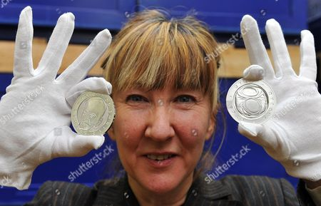 British Artist Jane Mcadam Freud Poses with Silver Medals Created in Honor of Czech-born Austrian Founder of Psychoanalysis Sigmund Freud (1856-1939) at a Mint in the Town of Jablonec Nad Nisou Czech Republic 26 January 2010 Mcadam Freud Great-granddaughter of Sigmund Freud Created the Design For the Commemorative Medals on the Occasion of the 70th Anniversary of Sigmund Freud's Death Czech Republic Jablonec Nad Nisou