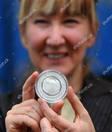 British Artist Jane Mcadam Freud Poses with a Silver Medal Created in Honor of Czech-born Austrian Founder of Psychoanalysis Sigmund Freud (1856-1939) at a Mint in the Town of Jablonec Nad Nisou Czech Republic 26 January 2010 Mcadam Freud Great-granddaughter of Sigmund Freud Created the Design For the Commemorative Medal on the Occasion of the 70th Anniversary of Sigmund Freud's Death Czech Republic Jablonec Nad Nisou