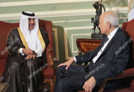 Egyptian Foreign Minister Nabil Elaraby (r) Talks with Qatari Foreign Minister Sheikh Hamad Bin Jassim Bin Jaber Al-thani Before an Extraordinary Arabic Foreign Ministers Meeting in Cairo Egypt 15 May 2011 Foreign Ministers of the Arab League Met on 15 May to Choose a New Secretary General to Replace Amr Moussa who Resigned His Post to Run For the Egyptian Presidency the Competition was Due to Be Between Two Candidates Qatari Abdel Rahman Al-attia and Egyptian Mustafa El Fiki But According to Local Media Sources Egypt Has Withdrawn El Fiki's Candidacy Replacing It with That of Nabil Elaraby Egypt Cairo